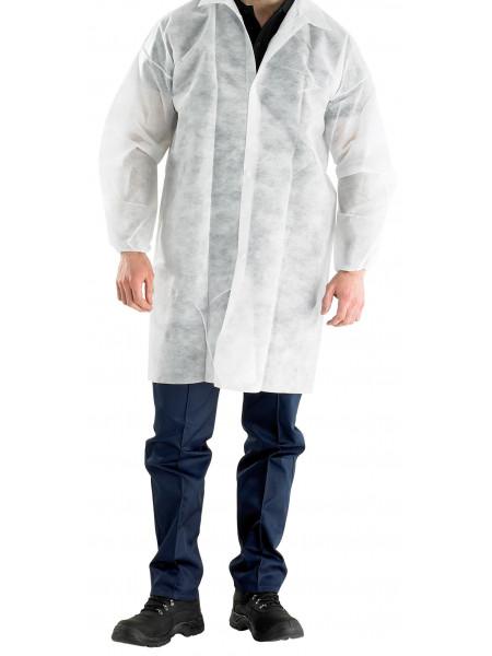 Медицинский халат посетителя на кнопке